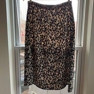 Leopard Halogen A-line Midi Skirt